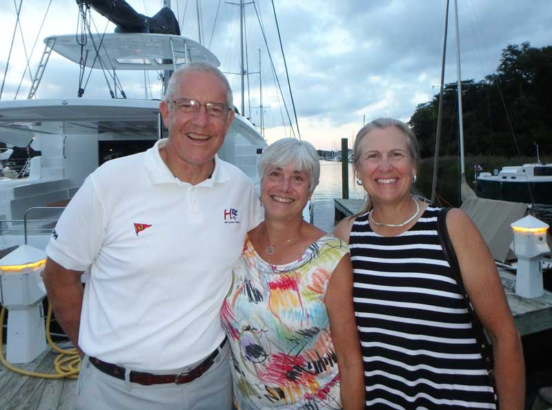 Peter Trogden (left), pictured here with his wife Cathie and Margaret Podlich at the 2018 Hospice Cup, will continue to support the company to ensure a smooth transition.