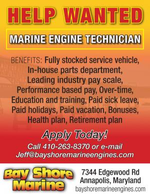 Help Wanted: Experienced Marine Technician at Bay Shore Marine located in Annapolis, Maryland.