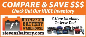 Stevens Battery Warehouse has three store locations to serve you.