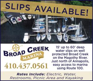 Broad Creek Marina located in Pasadena, MD on the Magothy River has deep water slips available