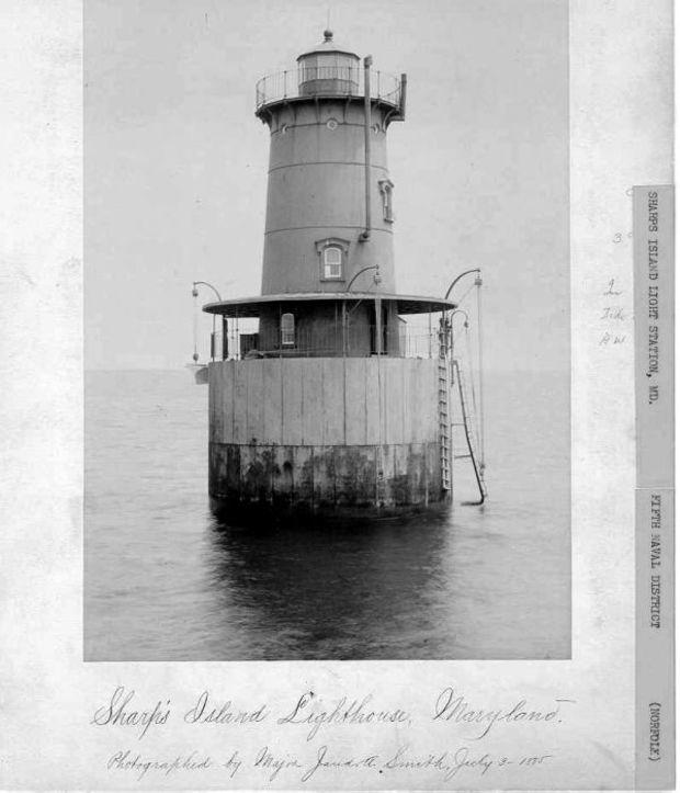 The third (and current) Sharps Island Lighthouse in July, 1885. Photo courtesy U.S. Coast Guard.