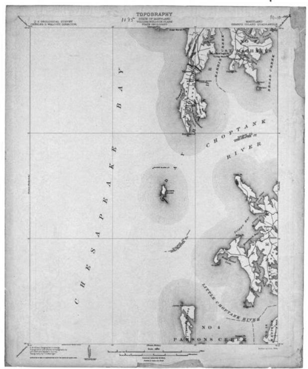 Sharps Island (center) in 1904. Photo courtesy of the U.S. Geological Society